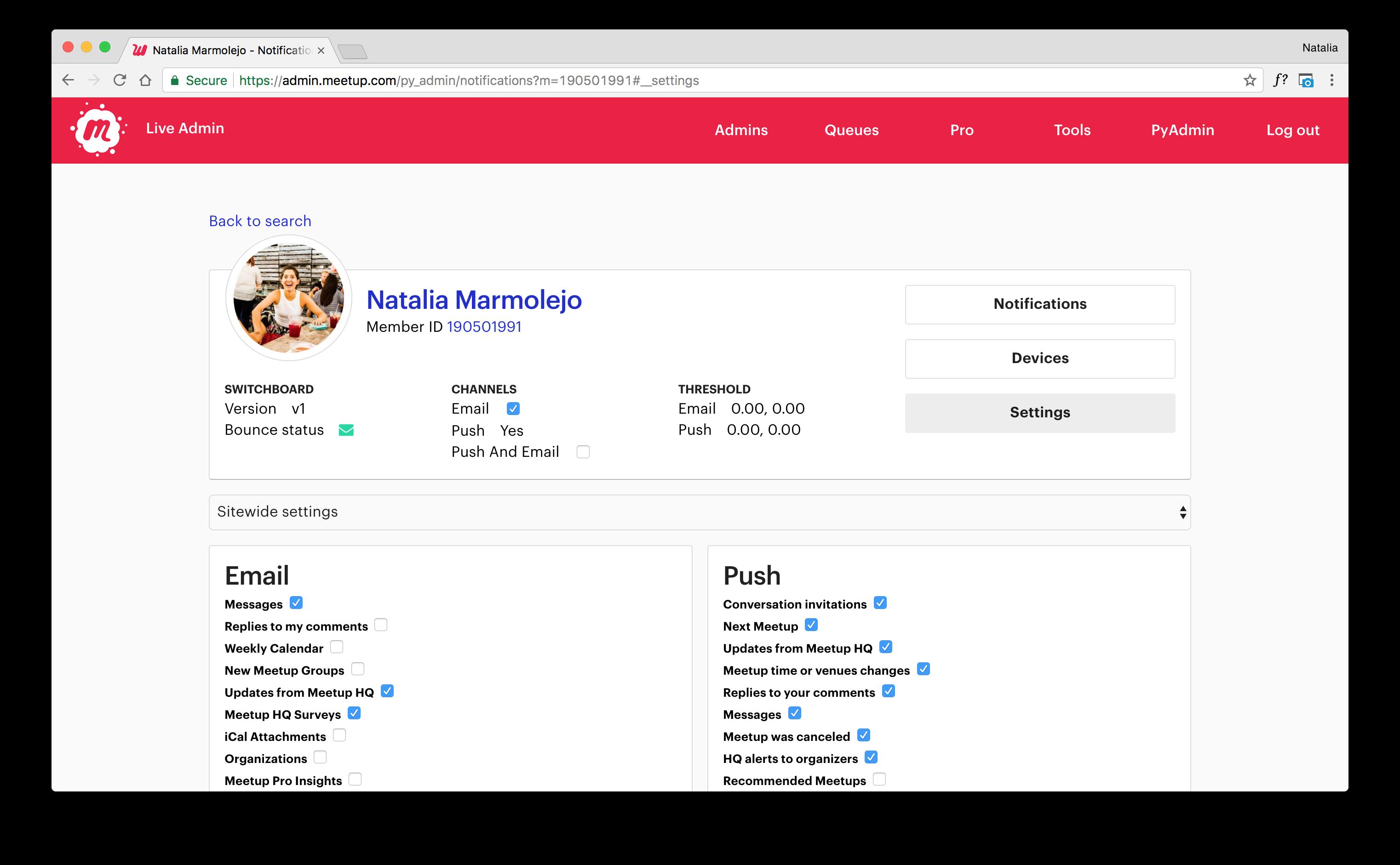 Natalia Marmolejo › Meetup: Notifications Admin Tool